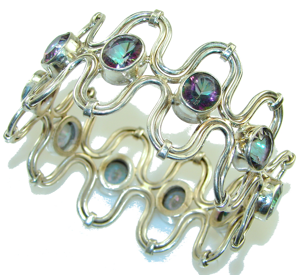 Natural Beauty!! Rainbow Magic Topaz Sterling Silver Bracelet