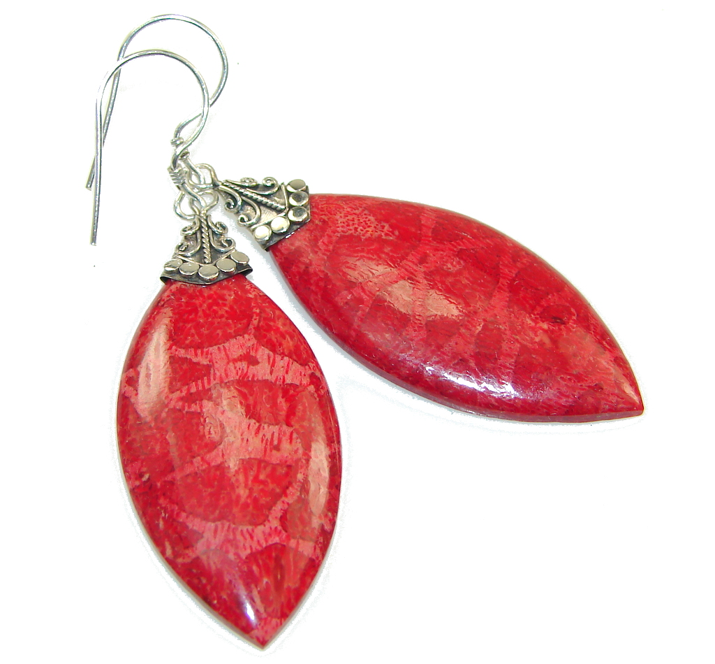 Lovely Kiss! Red Fossilized Coral Sterling Silver earrings