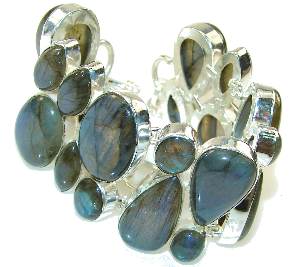 Great Impression! Fire Labradorite Sterling Silver Bracelet