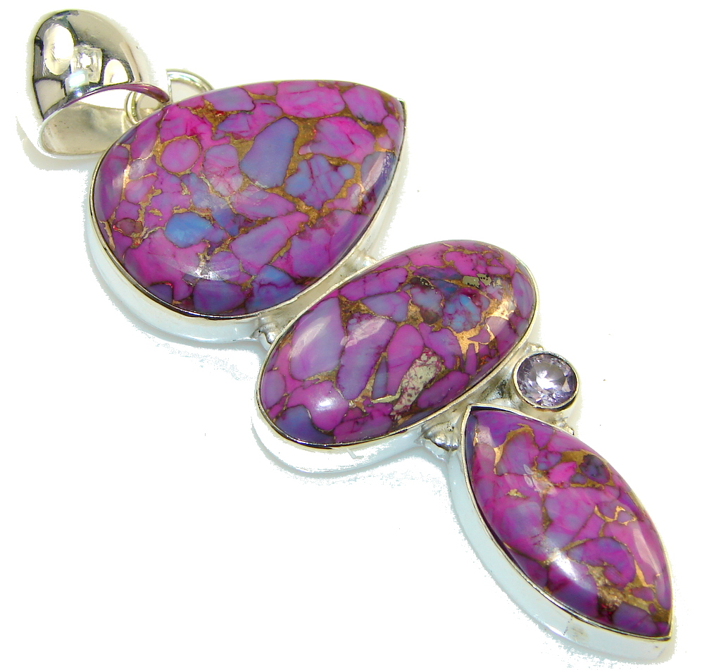 Big! Purple Copper Turquoise Sterling Silver Pendant
