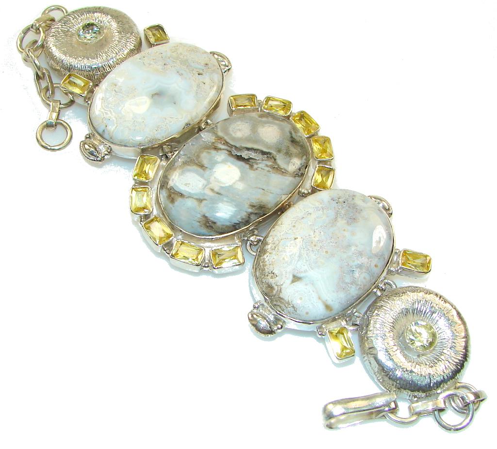 Image of Excellent Design!! Ocean Jasper Sterling Silver Bracelet