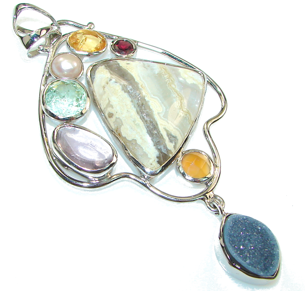 Big! Awesome Style Of Ocean Jasper Sterling Silver Pendant