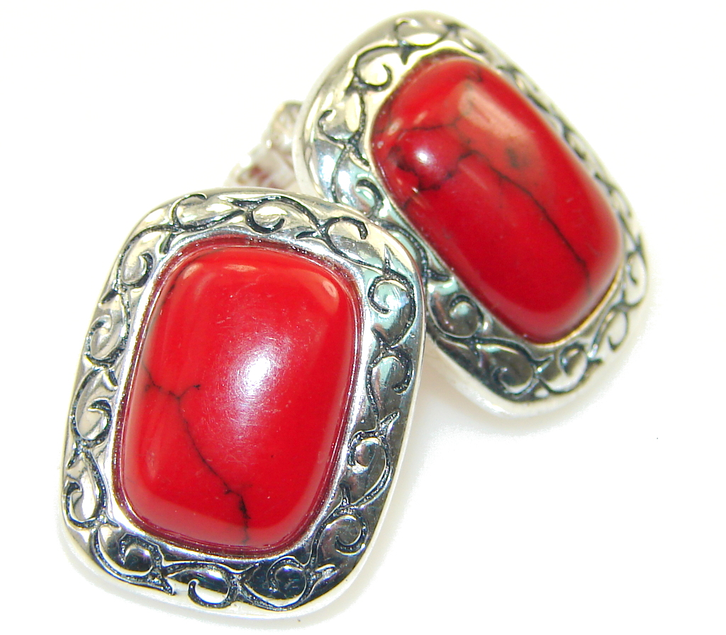 Love Power!! Fossilized Coral Sterling Silver earrings