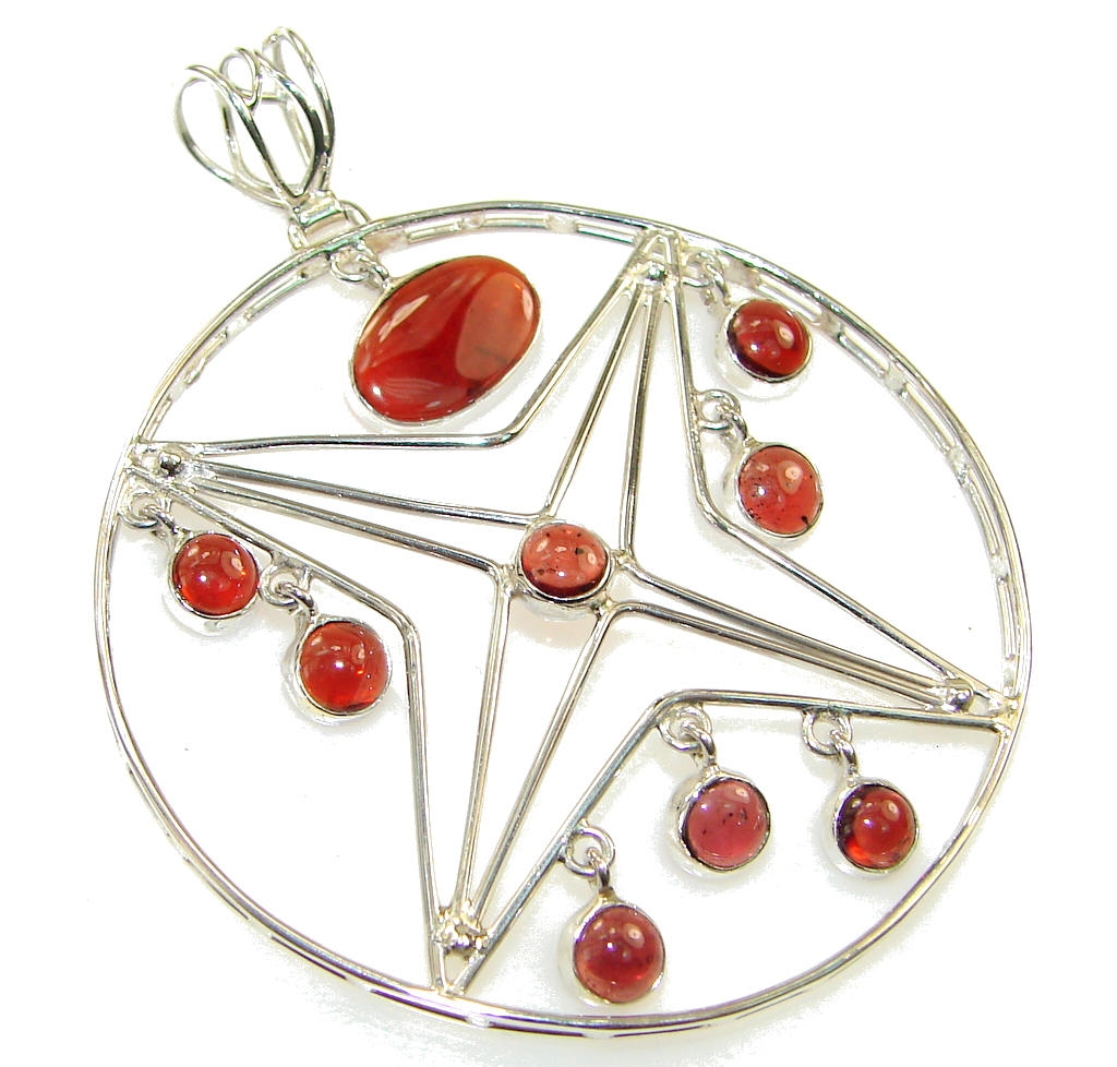 Delicate!! Orange Tourmaline Sterling Silver Pendant