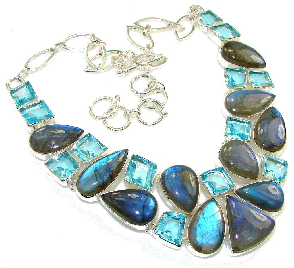 Great Impression!! Blue Fire Labradorite Sterling Silver necklace