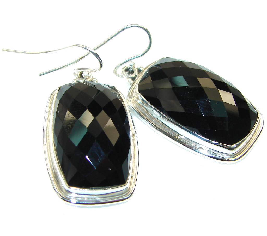Big!Amazing!! Black Onyx Sterling Silver earrings