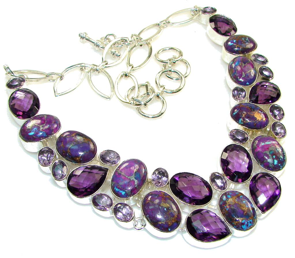 Get Glowing!! Purple Copper Turquoise Sterling Silver necklace