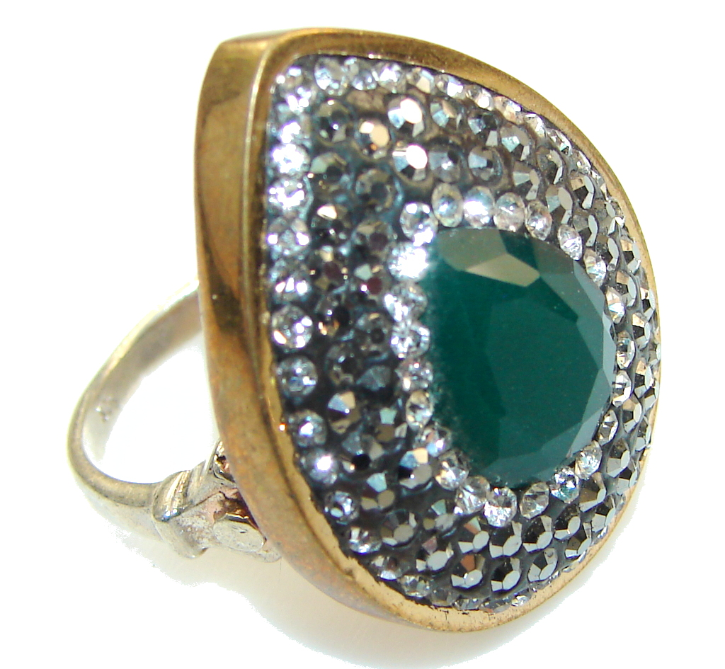 Turkish Style!! Green Emerald Sterling Silver ring s. 8 1/4