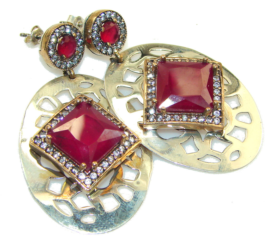 Big! Stylish Red Ruby Sterling Silver earrings