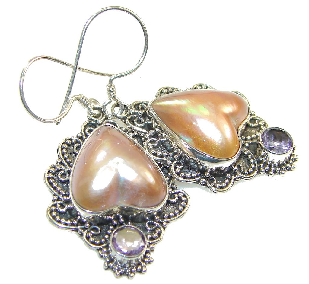 Beautiful Blister Pearl Sterling Silver earrings