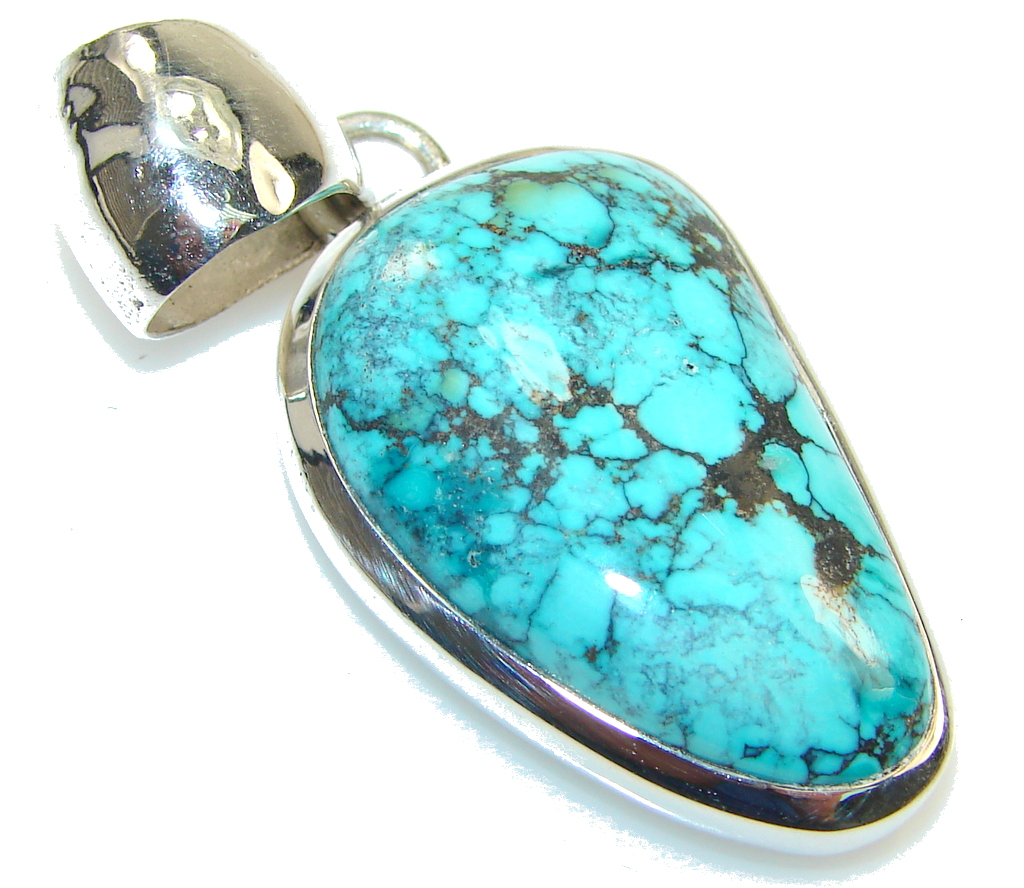 Amazing Blue Turquoise Sterling Silver Pendant