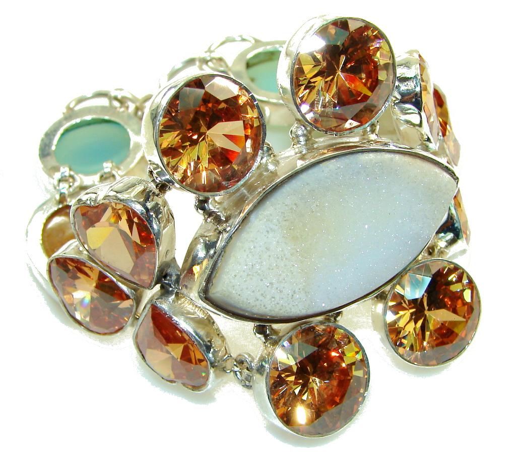 Large! Evening Dew! Agate Druzy Sterling Silver Bracelet