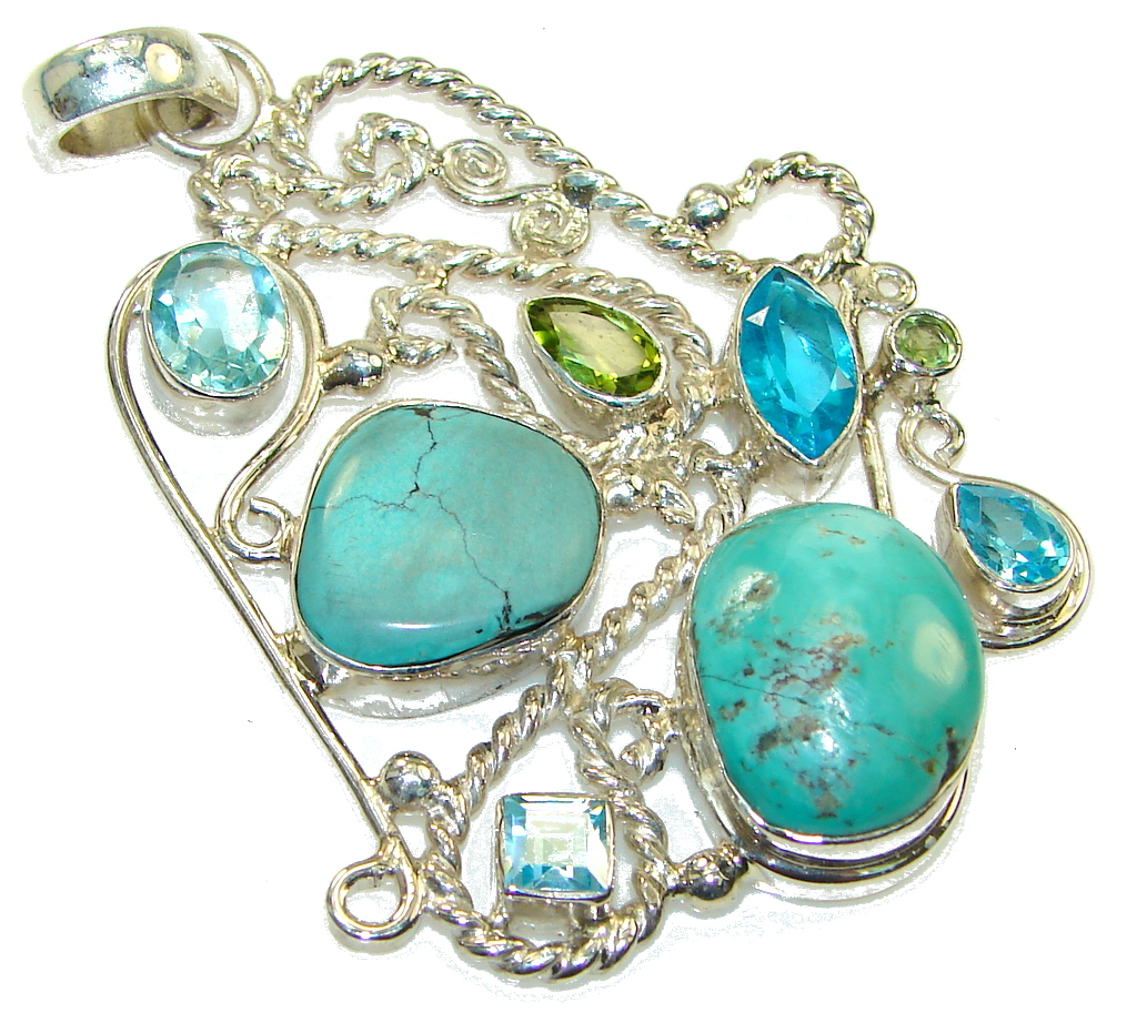 Fashion Style! Green Turquoise Sterling Silver Pendant