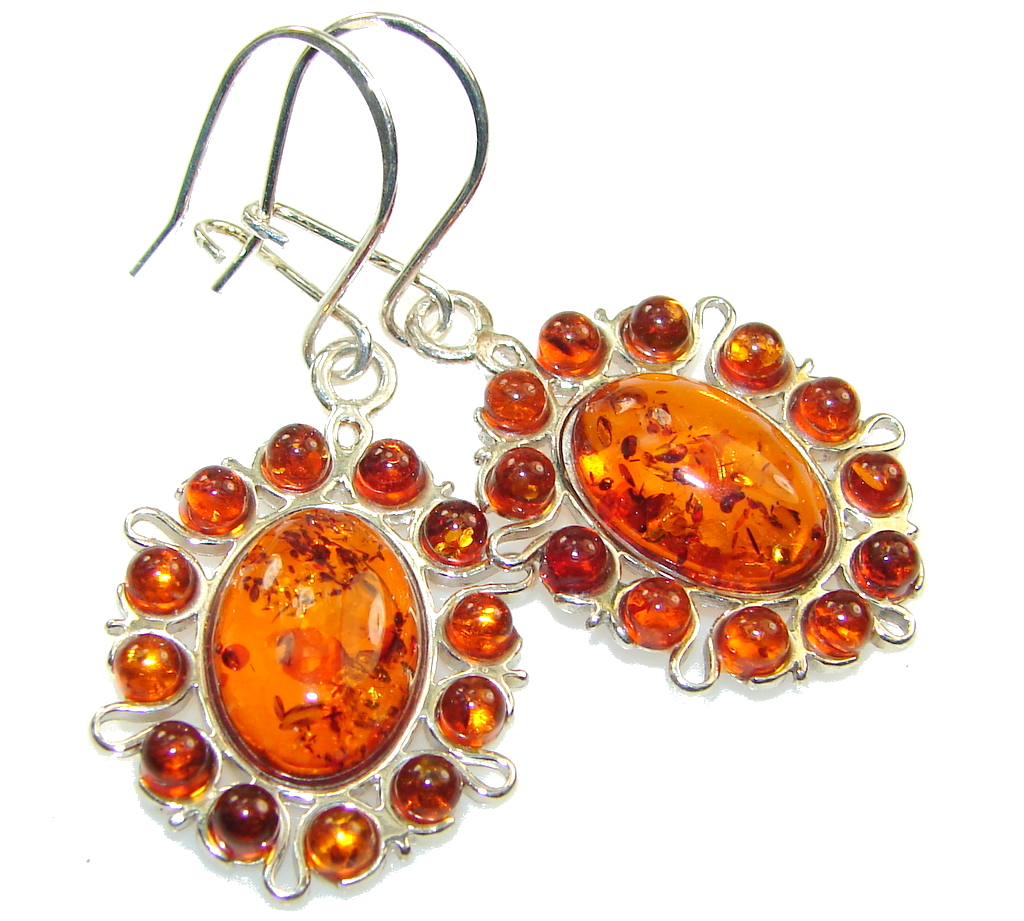 Perfect! Brown Polish Amber Sterling Silver earrings