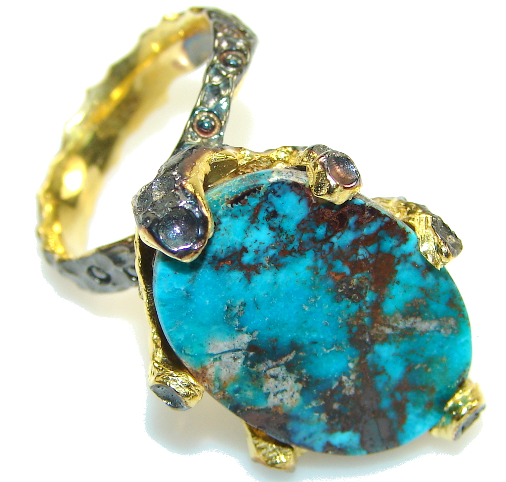 Vintage Design!! Gold Plated, Rhodium Plated Italy Made Turquoise Sterling Silver Ring s. 8 1/4
