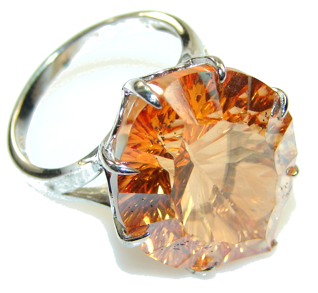 Amazing Color Of Golden Topaz Sterling Silver Ring s. 9