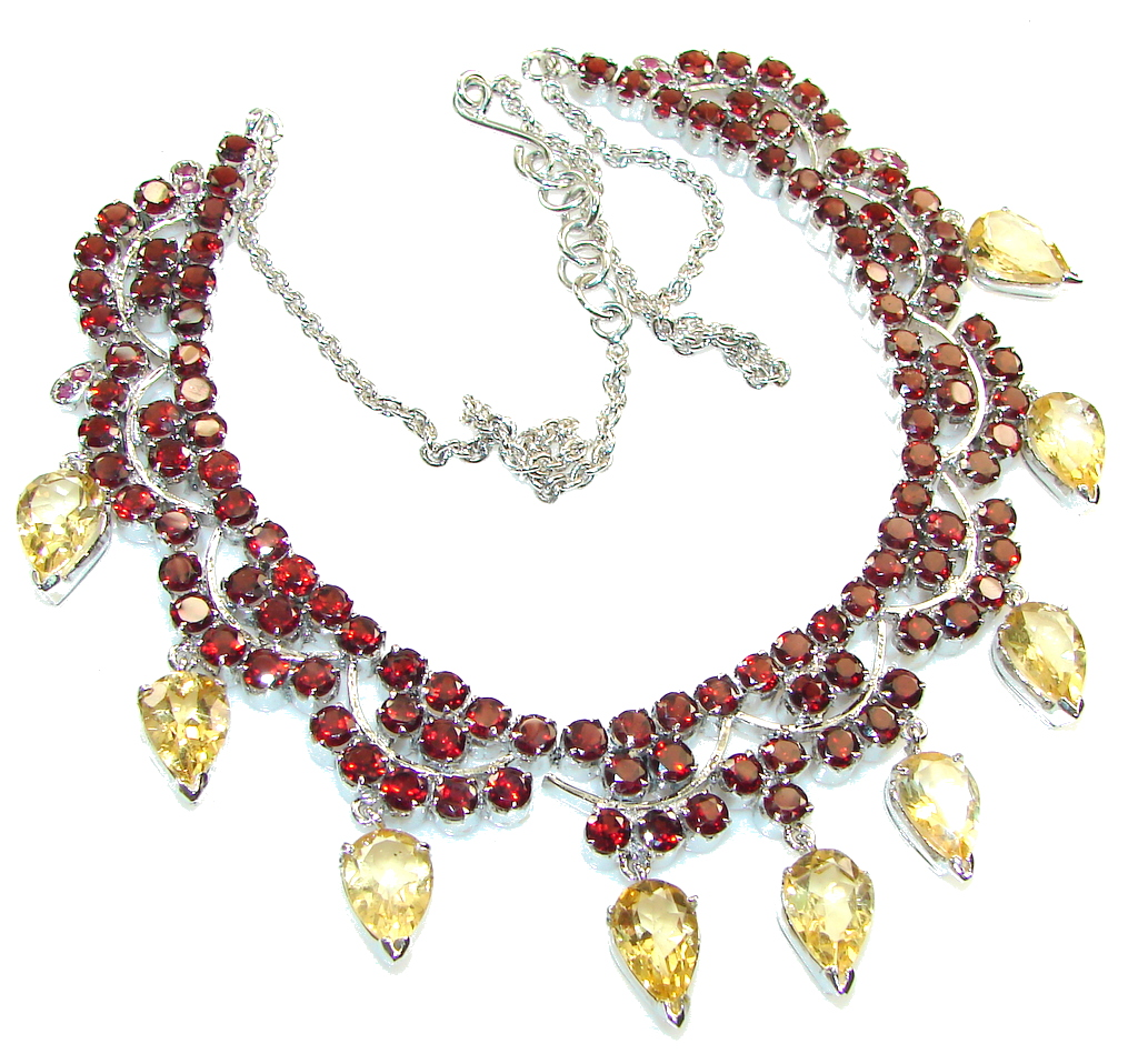 Rich Personality!! Red Garnet Sterling Sterling Silver necklace