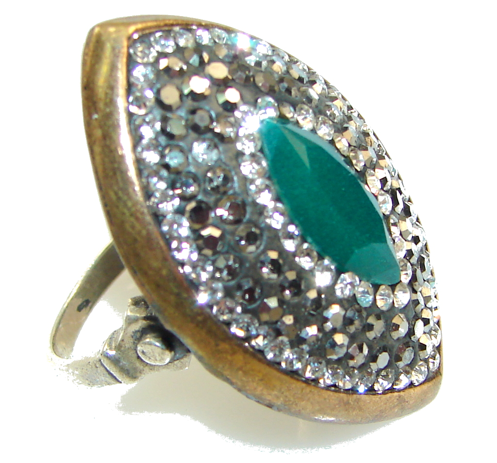 Before Time!! Green Emerald Sterling Silver ring s. 8