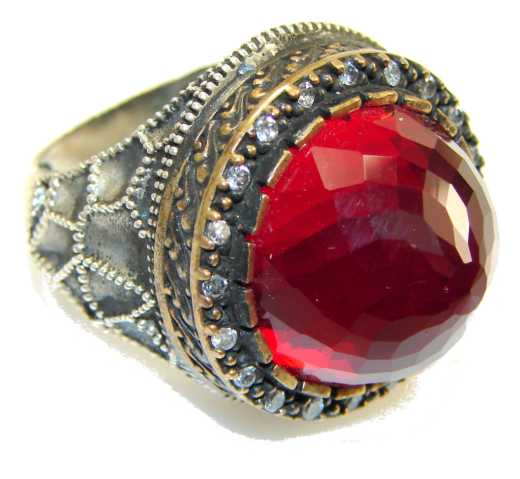 Vintage Style Red Quartz Sterling Silver Ring s 8