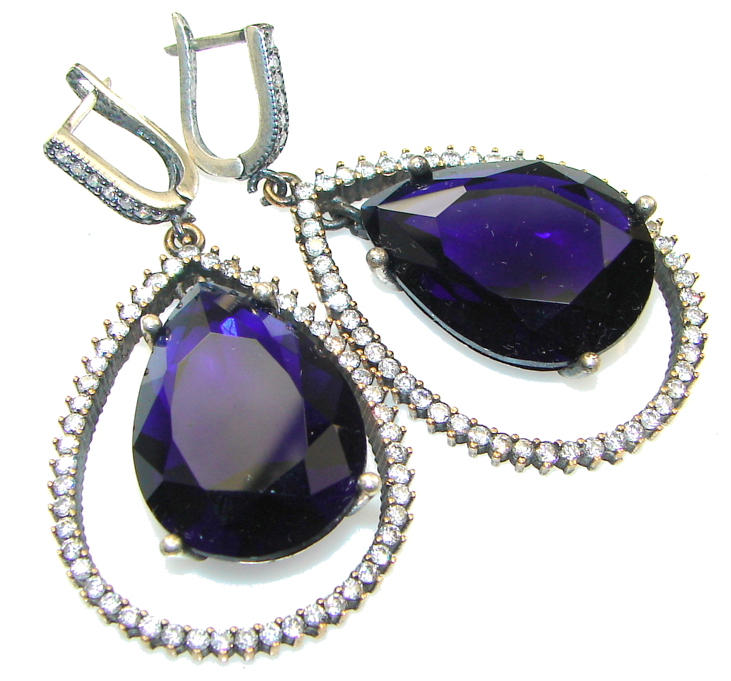 Awesome Design!! Blue Sapphire Quartz Sterling Silver earrings