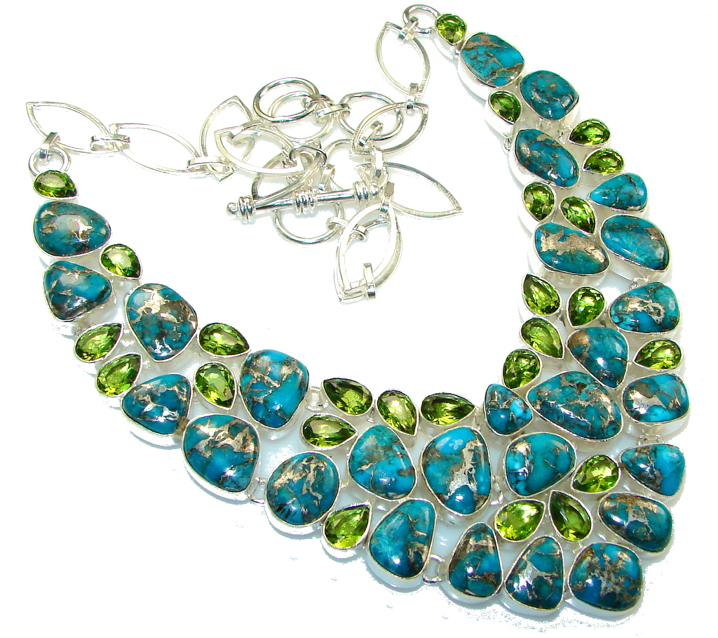 Natural Beauty!! Blue Copper Turquoise Sterling Silver necklace