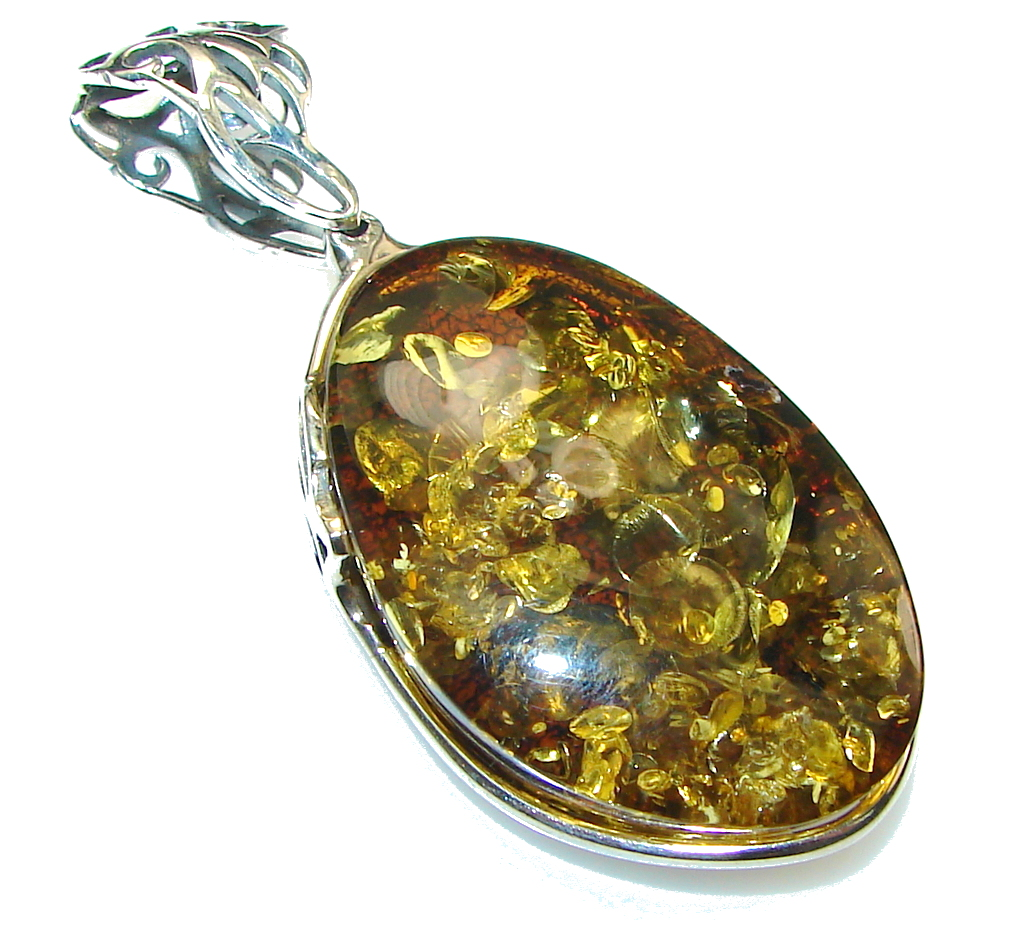 Just Perfect!! Brown Polish Amber Sterling Silver Pendant