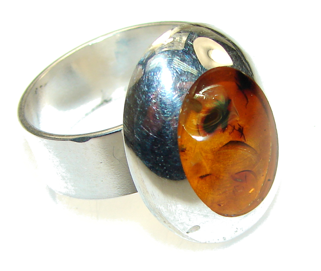 Image of New Life!! Polish Amber Sterling Silver Ring s. 8