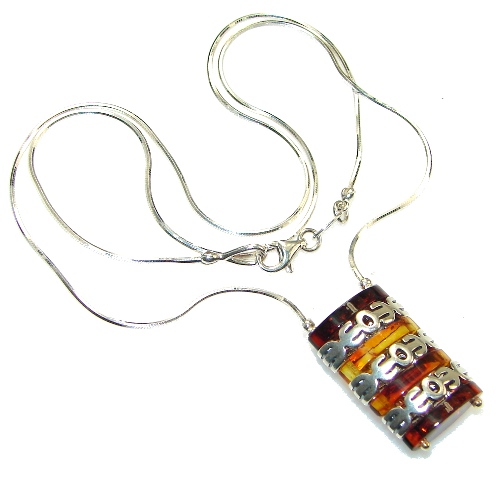 Amazing! Polish Amber Sterling Silver necklace