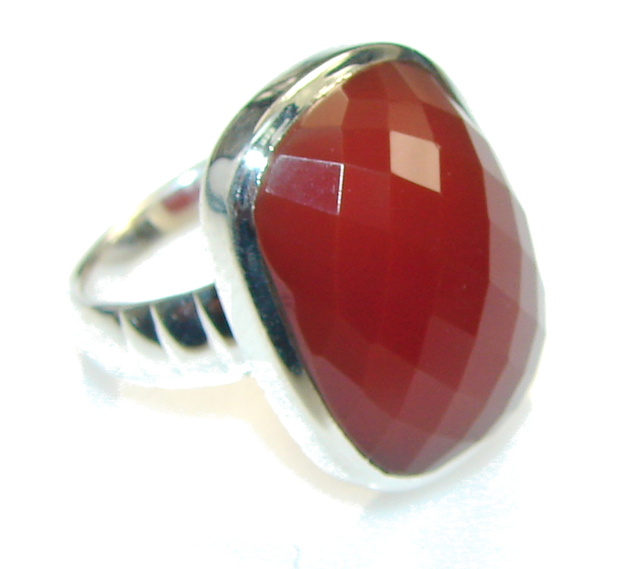 Excellent Brown Carnelian Sterling Silver Ring Size 6
