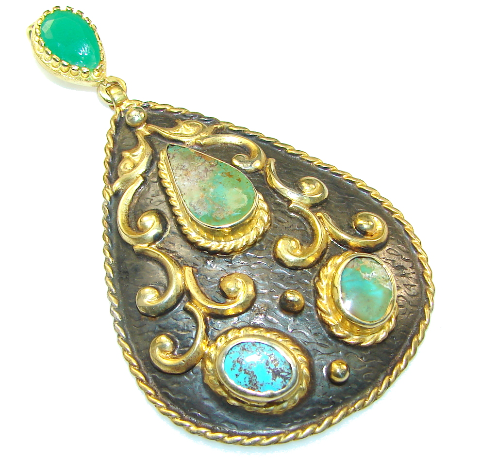 Large! New Secret Design!! Turquoise, Two Tones Sterling Silver Pendant