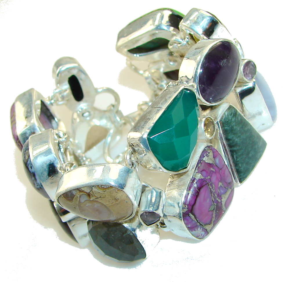 Aura Of Beauty!!! Multigem Sterling Silver Bracelet