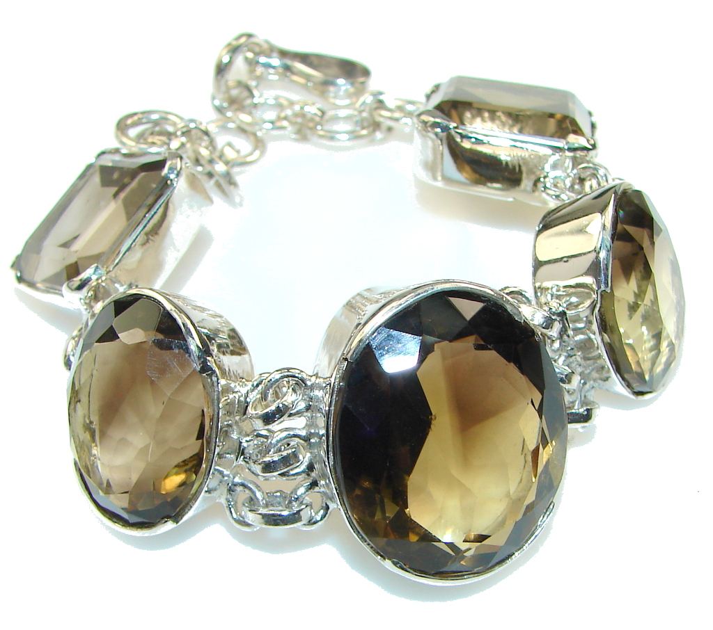 Duality In Brown!! Smoky Topaz Sterling Silver Bracelet