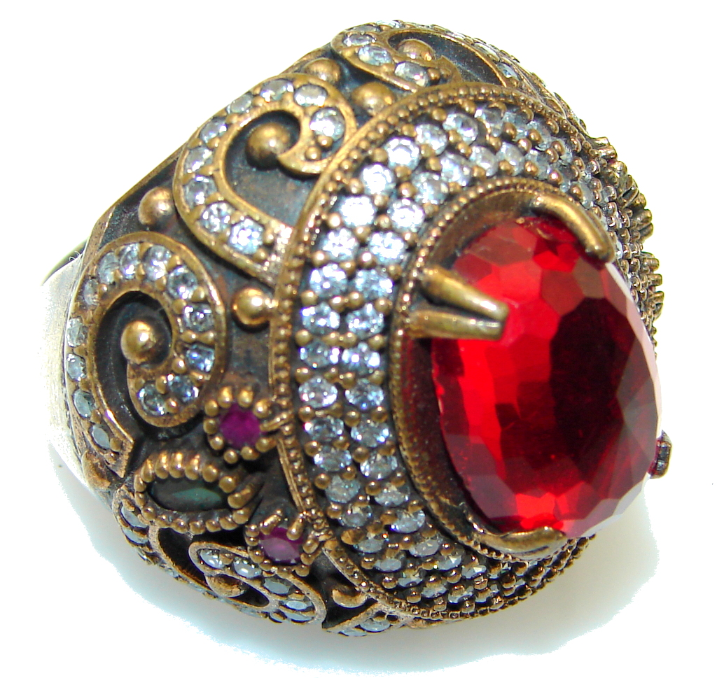 Big!! Stylish Red Garnet Quartz Sterling Silver Ring s. 10