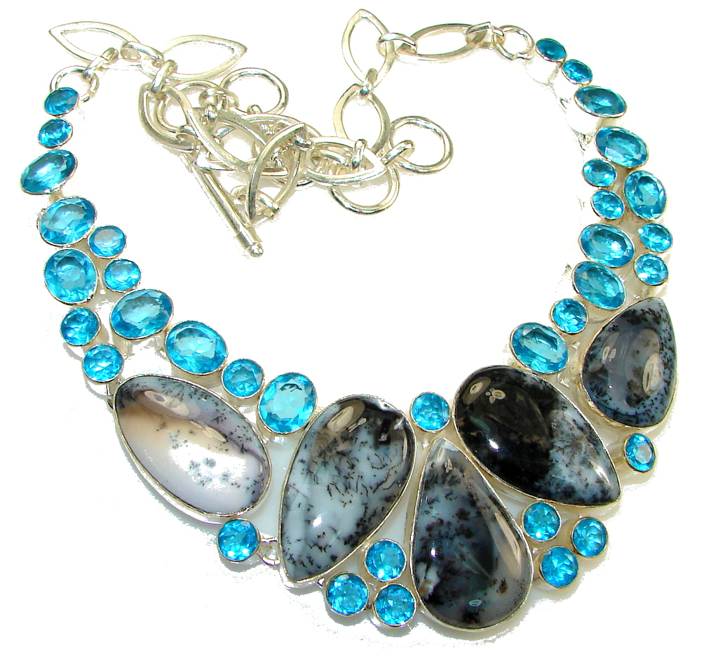 Pale Beauty!! Dendritic Agate Sterling Silver necklace