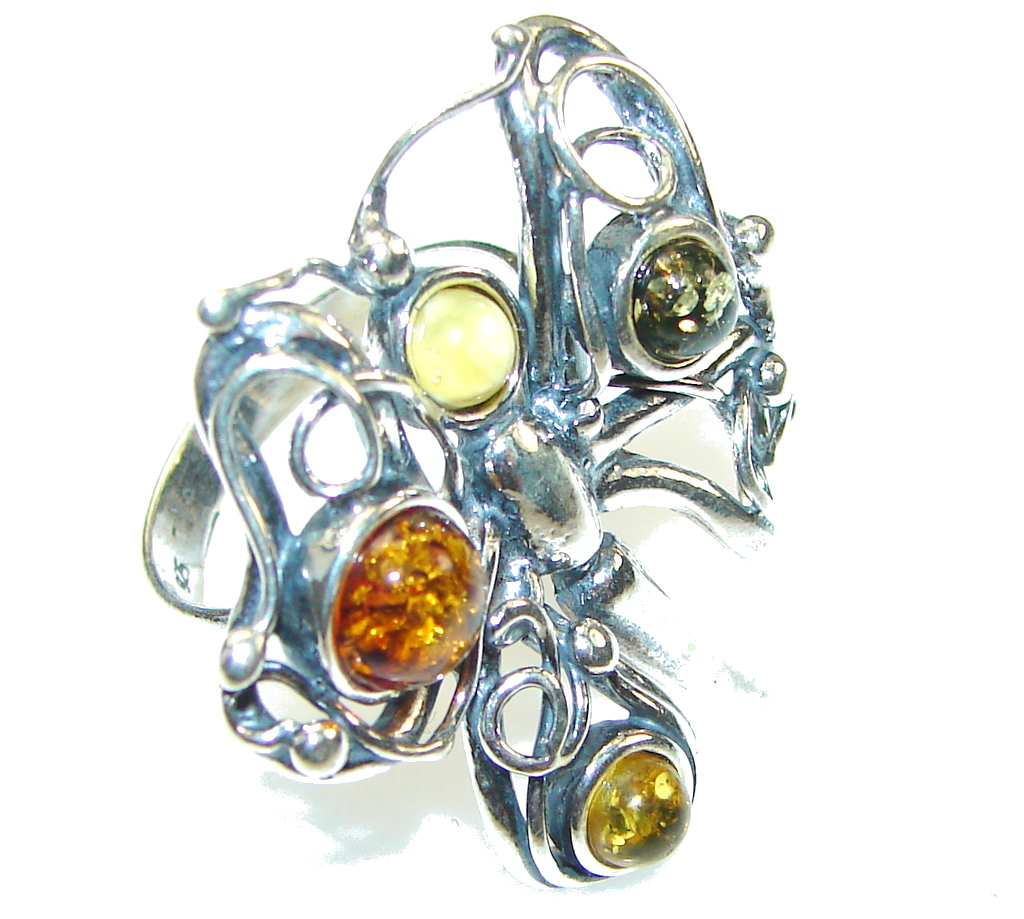 Stylish! Multicolor Polish Amber Sterling Silver Ring