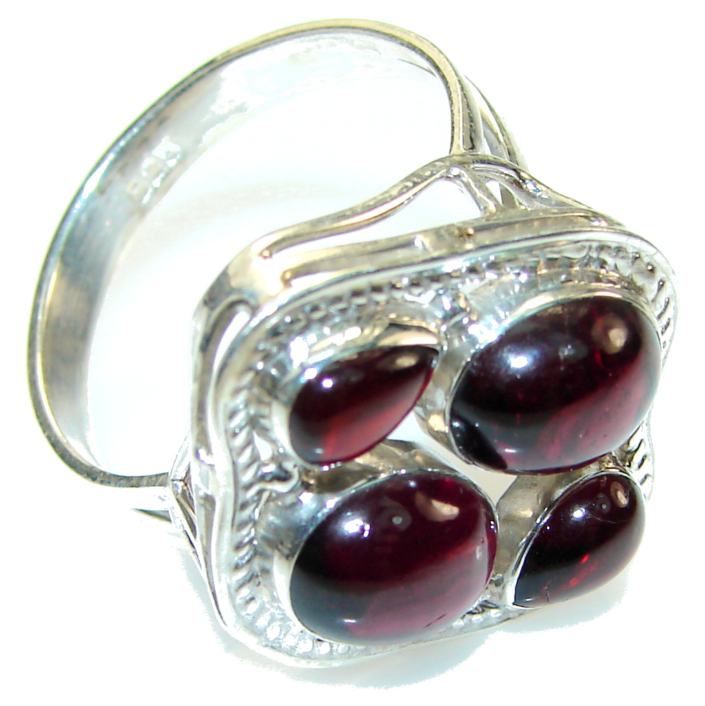Excellent! Red Tourmaline Sterling Silver Ring