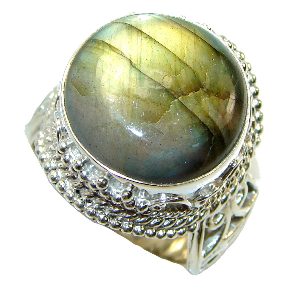 Big! Fantastic Green Labradorite Sterling Silver ring s. 12