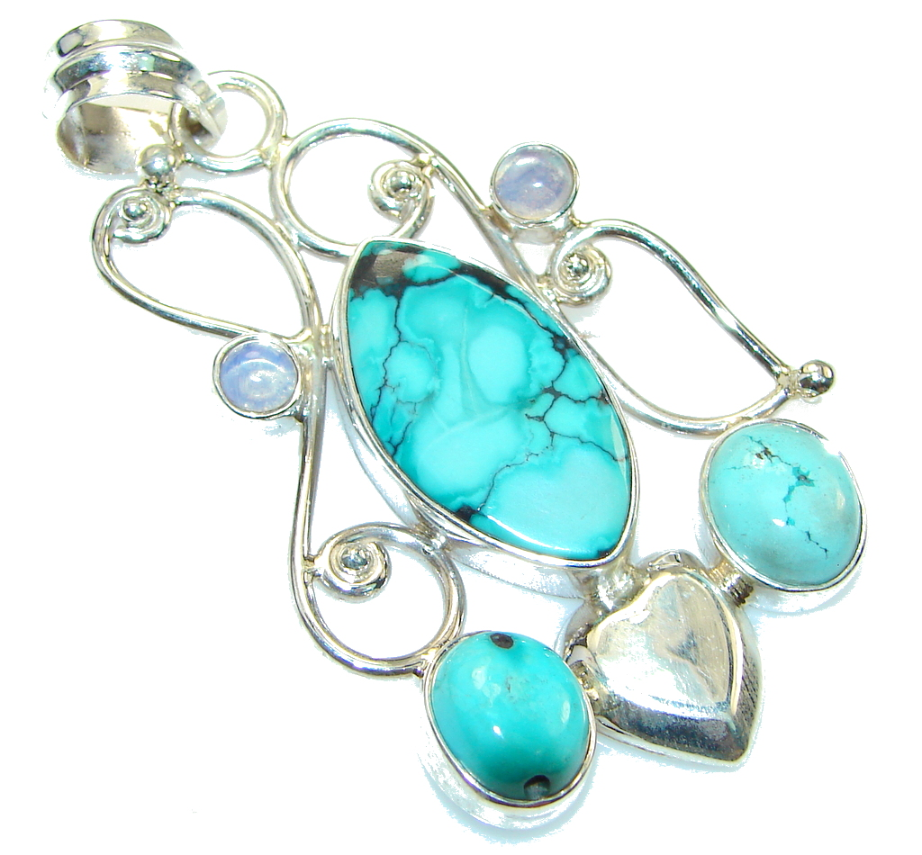 Amazing Color Of Turquoise Sterling Silver Pendant