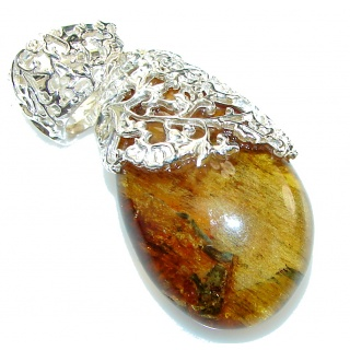 Sublime Beauty Polish Amber Sterling Silver Pendant