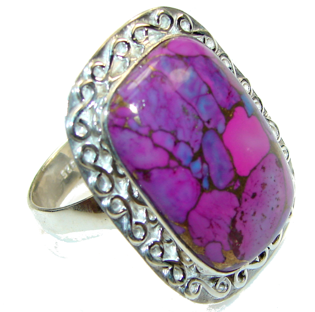 Big! Purple Copper Turquoise Sterling Silver Ring s. 12