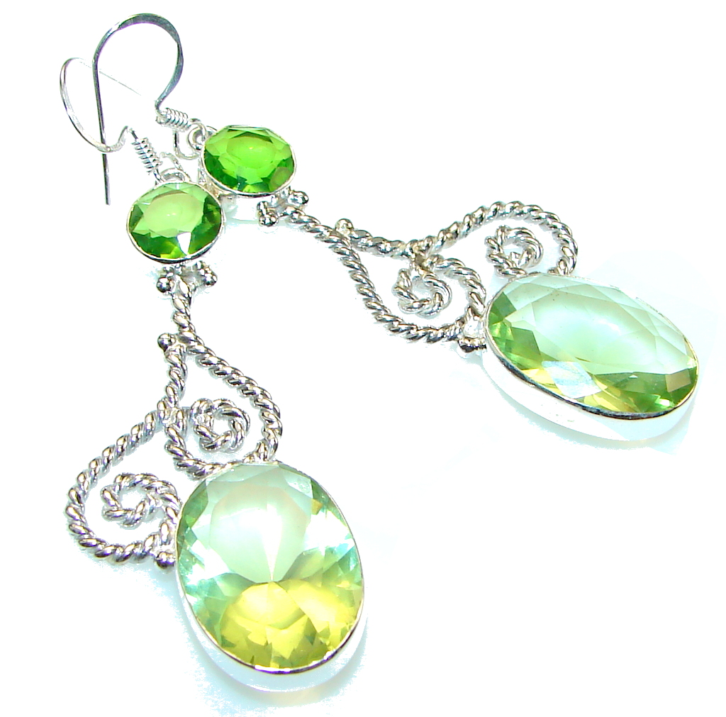 Delicate Green Peridot Quartz Sterling Silver earrings