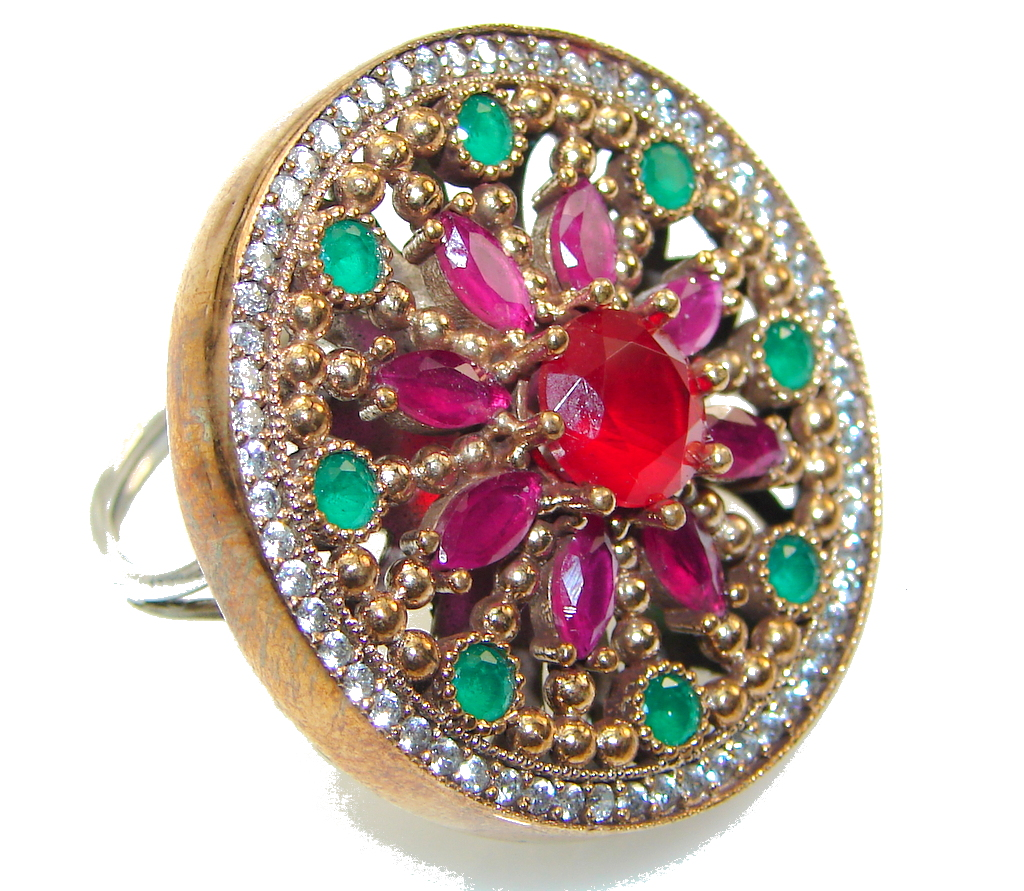 Large!! Gorgeous Style!! Red Ruby Sterling Silver ring s. 10 - Adjustable
