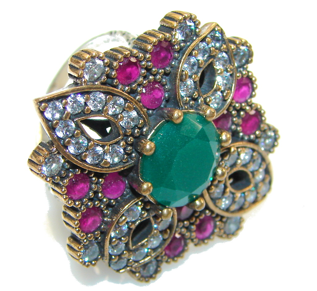 Amazing Style!! Green Emerald Sterling Silver ring s. 8 1/2
