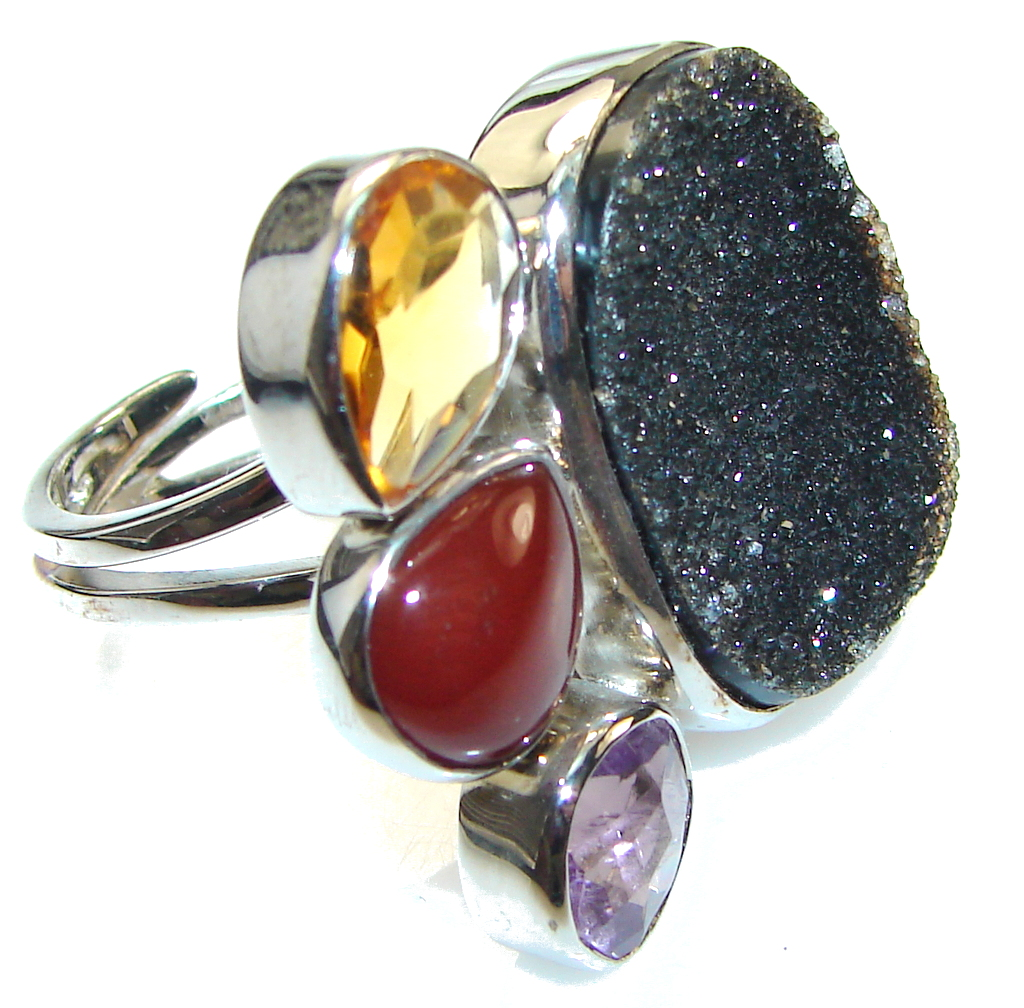 Fashion Black Agate Druzy Sterling Silver ring s. 7- Adjustable