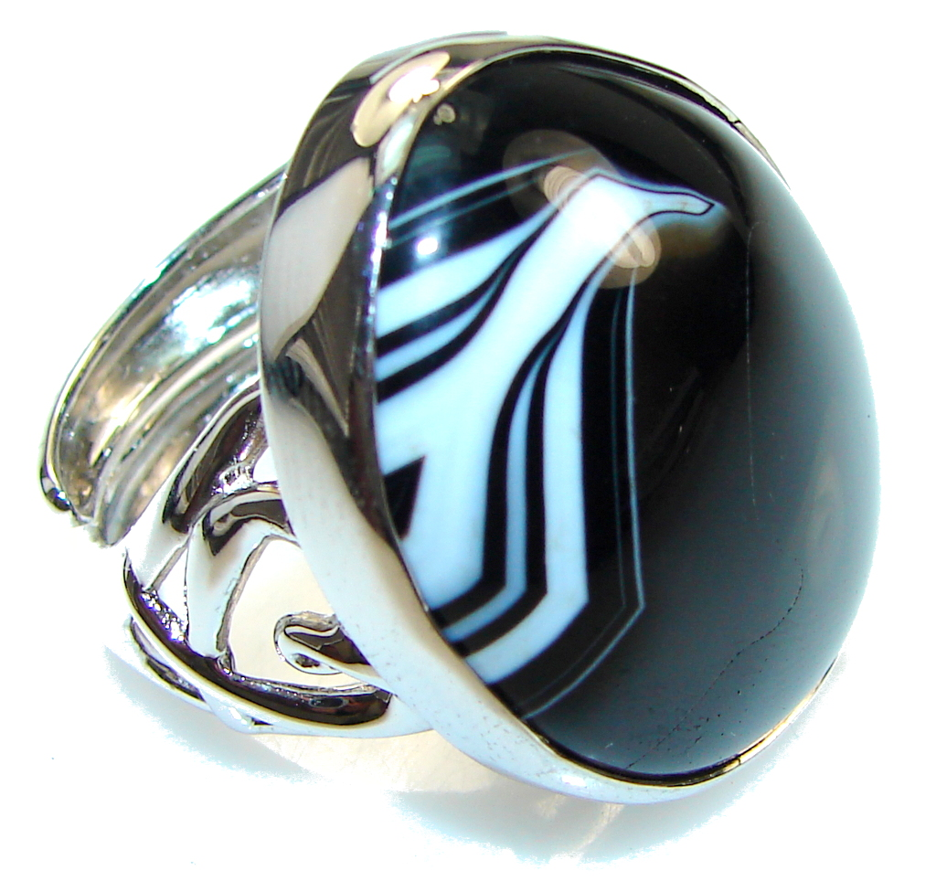 Just Perfect Black Botswana Agate Sterling Silver Ring s. 8 - Adjustable