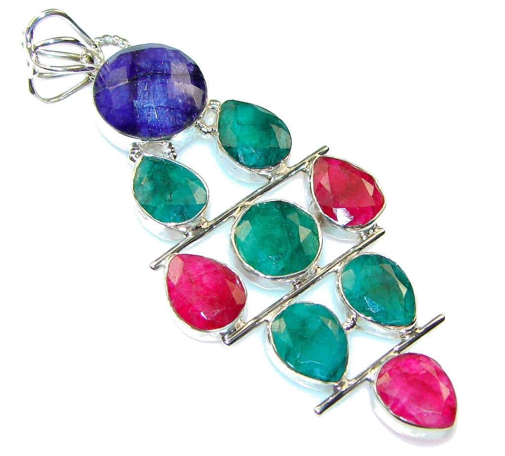 Paradise! Green Emerald, Ruby, Sapphire Sterling Silver Pendant