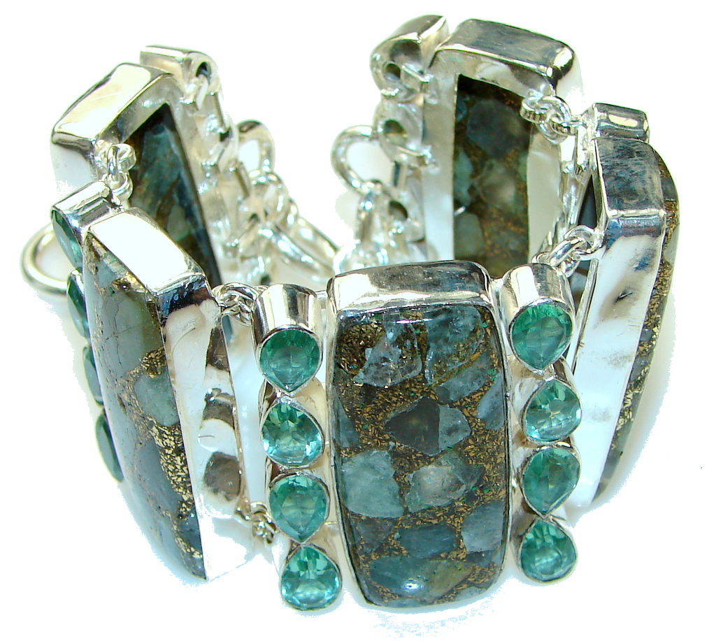 Amazing! Crashed Copper Blue Aquamarine Sterling Silver Bracelet