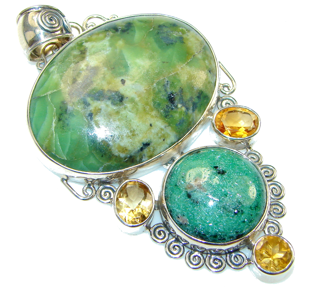 Green Island!! Ruby in Zoisite Sterling Silver Pendant
