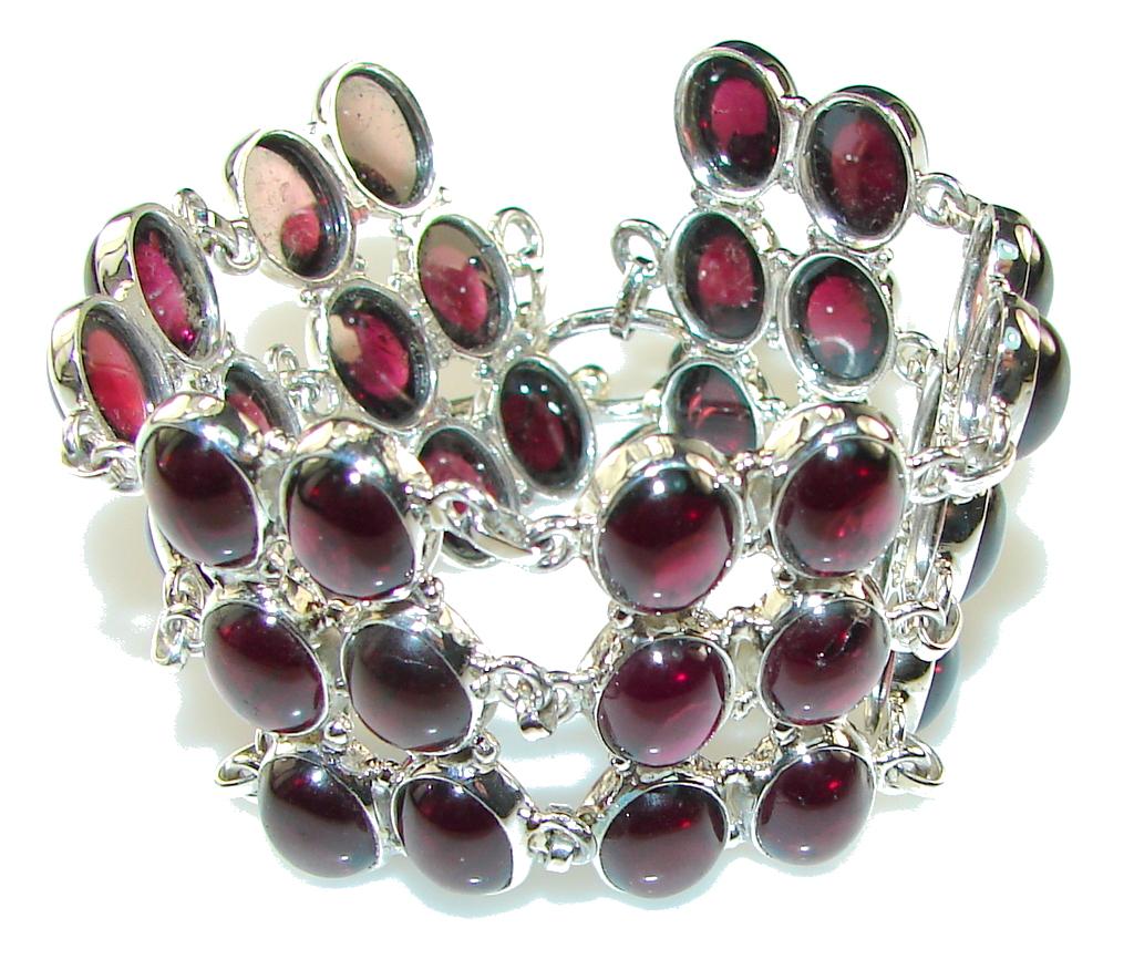 Delicate Style!! Ruby Pink Tourmaline Sterling Silver Bracelet