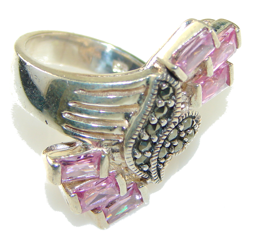 marcassite.com Perfect! Pink Topaz Sterling Silver ring; size 6